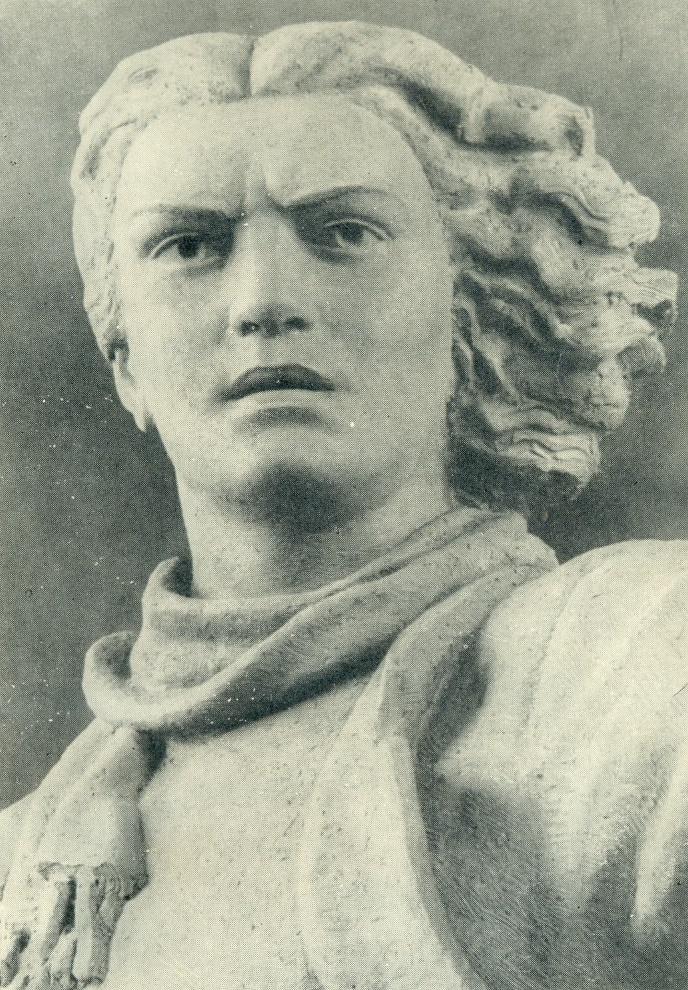 Marite Melnikayte. Fragment of the model of the monument. Gypsum. 1954