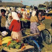 Market day in Sidnevo. 1950s