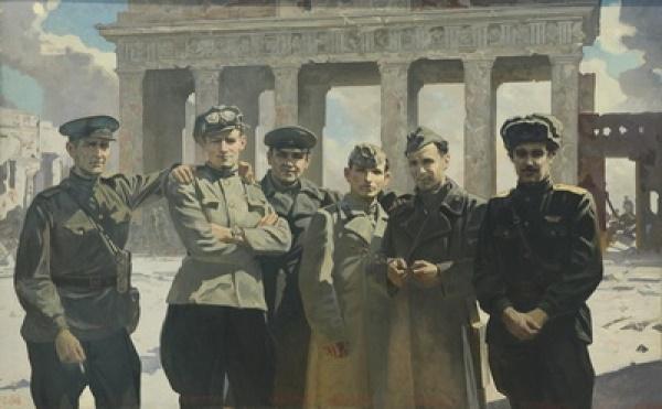 Military artists of the studio of Mitrofan Grekov in Berlin. 1945