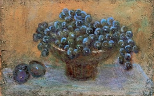 Still life with grapes. 1990. Oil on fiberboard