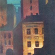 Night city. 1965. Cardboard, gouache