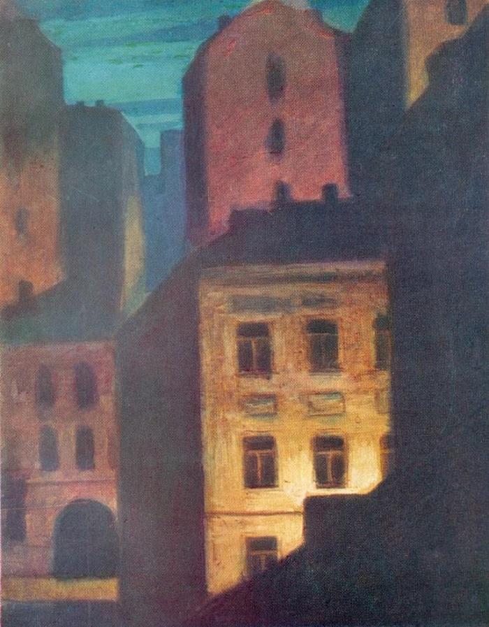 Night city. 1965. Cardboard, gouache