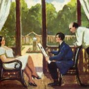 On the dacha (country house). 1929. Paper, gouache