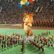 Performance with folk dances and a mascot