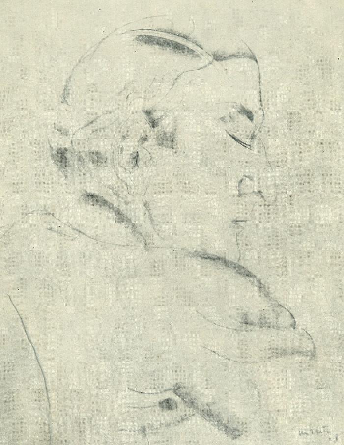 Portrait of a man. Paper, sanguine. 1928