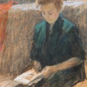 Reading. 1960s. Paper, pastel