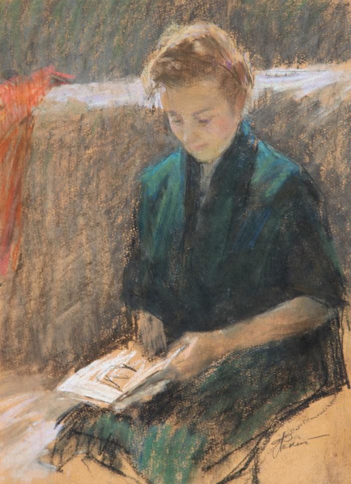 Reading. 1960s. Paper, pastel