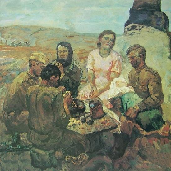 Soldiers. 1976. Painting by Soviet artist Gennady Ivanovich Prokopinsky (1921-1979)