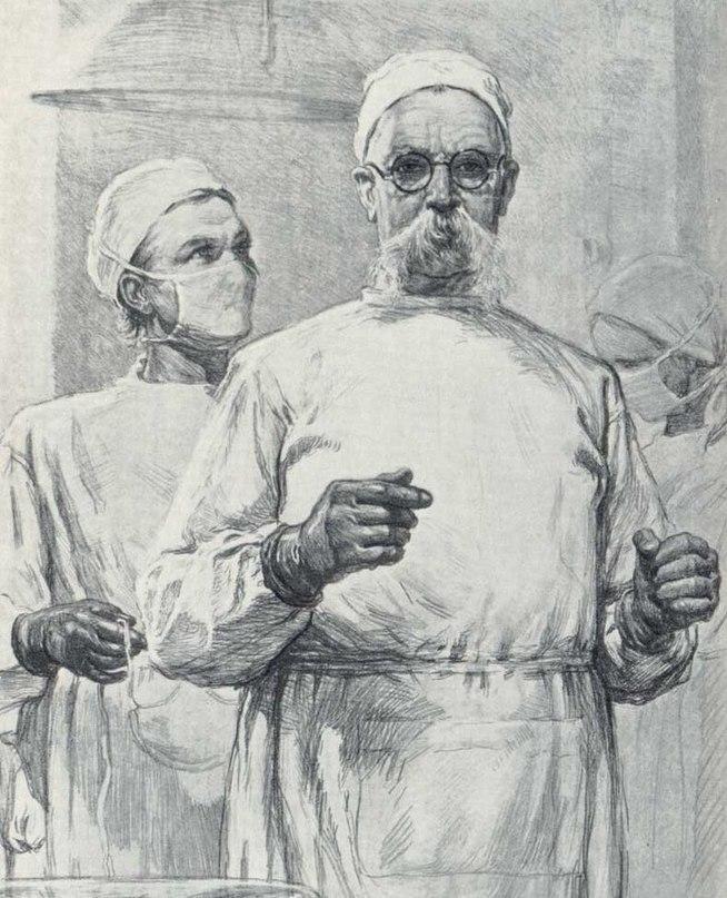 Surgeon I.P. Vinogradov before the operation, 1949