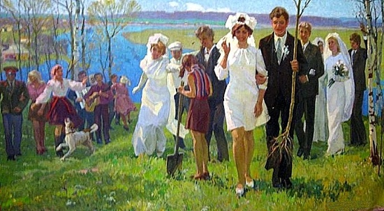 Oil on canvas painting Soviet artist Pyotr Antonovich Yablonovsky (25 July 1910 - 23 November 1984)
