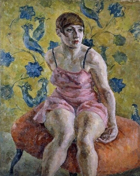 Woman in pink underwear. 1923