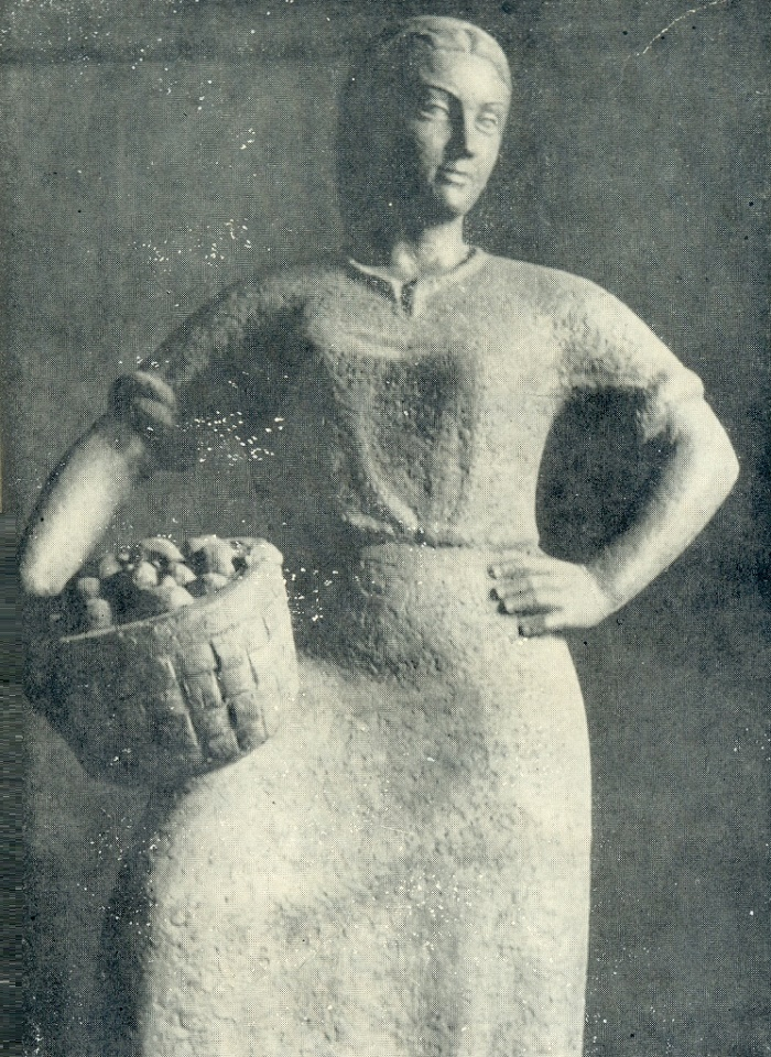 Woman with fruits. Gypsum. 1940-1941