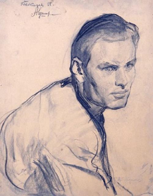 Young man, pencil portrait. 1958