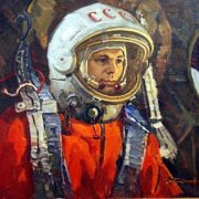 Yuri Alekseevich Gagarin, 1974. Painting by Soviet artist Andrei Ivanovich Plotnov (July 21, 1916 - May 13, 1997)