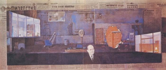 Article. R. Solntsev. 1986. Design sketch. Canvas, PVA