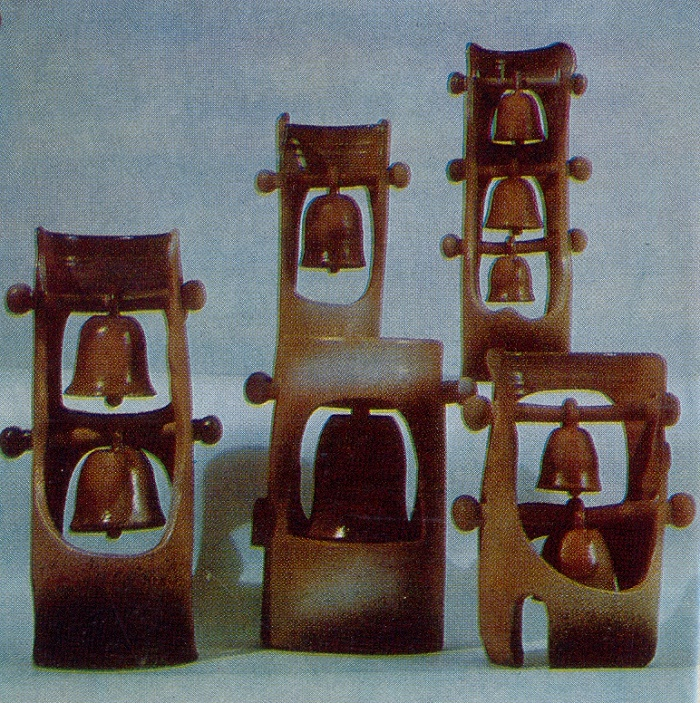 Belfry. Decorative composition. 1973. Clay, glaze, medals