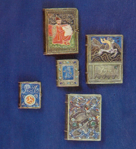 Covers to the books of Shota Rustaveli, Nikoloz Baratashvili, Rasul Gamzatov. Cloisonné enamel, granules, gavars, stones in the frame, enamel on minting. 1957-1972