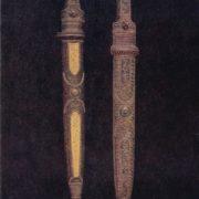 Daggers 'Hohobi' and 'Grekhiluri'. Niello, deep engraving, relief carving along the bone, gavars, enamel, filigree. 1955