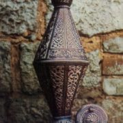 Decorative pitcher 'Muchial'. Chern, gavars, moat, stones. 1963
