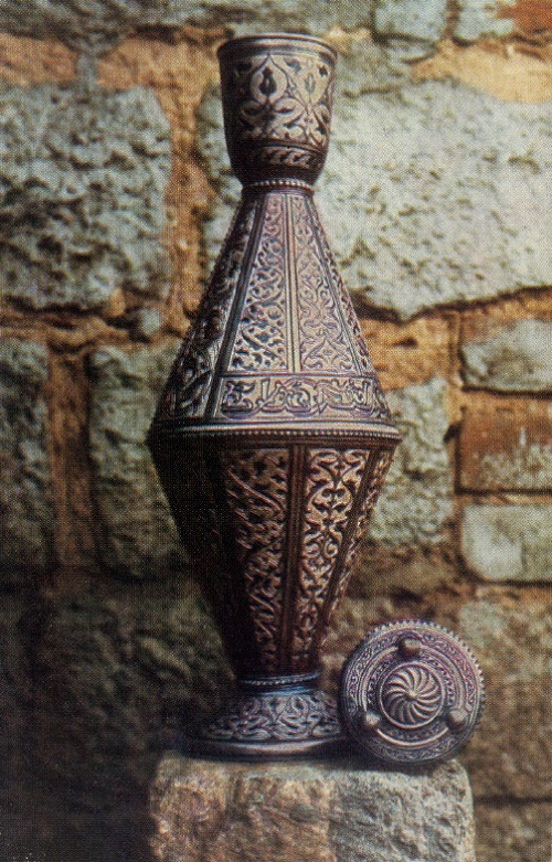 Decorative pitcher 'Muchial'. Chern, gavars, moat, stones. 1963