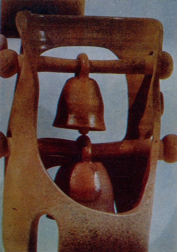 Fragment. Belfry. Decorative composition. 1973. Clay, glaze, medals