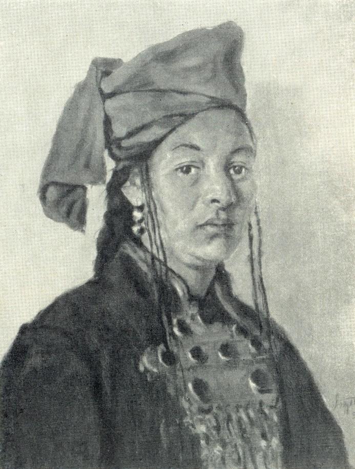 Honored artist of Kara-Kalpakskaya ASSR K. Matyakubova. 1956