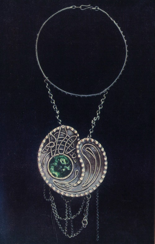 Necklace 'Cosmos'. Gavars, watering enamel. 1965