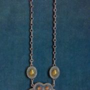 Necklace 'The Sheep'. Notching by iron, grains, gavars, stones, enamel molding. 1960