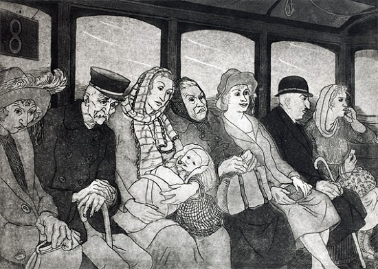 Passengers. 1924. Soviet Ukrainian graphic artist Vasily Kasiyan (1 January 1896 - 24 June 1976)