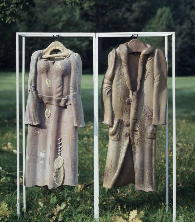 Pink dress and autumn coat. 1976