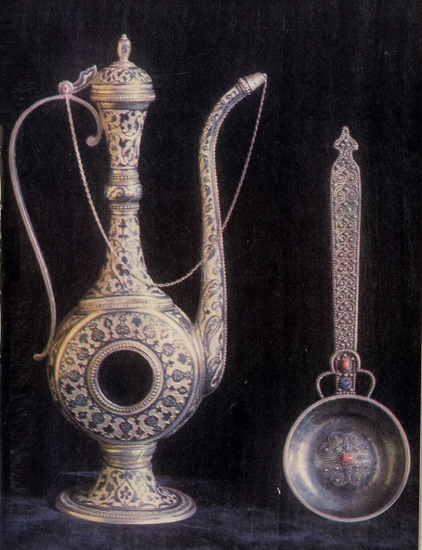 Pitcher and azarpecha. Niello, gavars, deep engraving. 1955