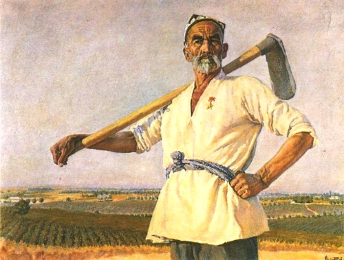 Portrait of Hero of Socialist Labor Nazarali Niyazov. Oil. 1949. Painting by Soviet Uzbek artist Abdulkhak Abdullayev (30 December 1918 - 29 October 2001)