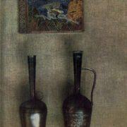 Silver book 'Merani' by N. Baratashvili. Cloisonne enamel, engraving. Pitcher 'Chinchikha', Niello