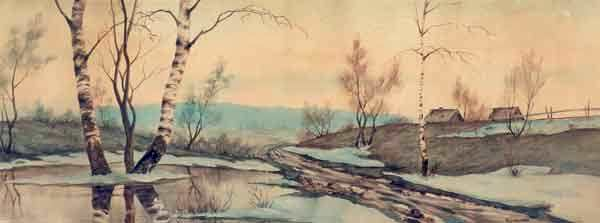 Spring landscape. 1910s. Painting by Soviet Russian artist Ivan Georgievich Drozdov (22 August 1880 - 26 November 1939)