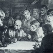 Taras Shevchenko among peasants. Lithography. 1939