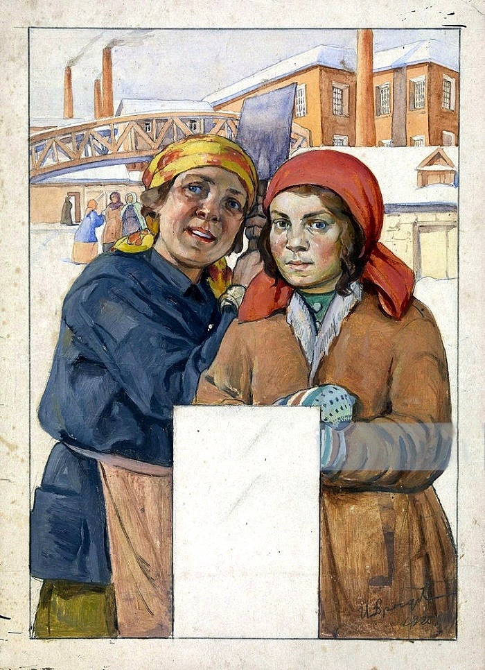 Two factory workers. 1925 (sketch for wall calendar)