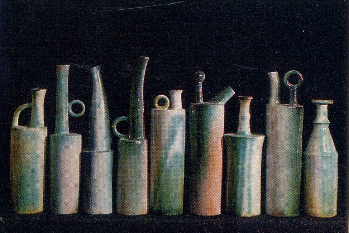 Variation, a set of decorative vessels. 1974 Majolica