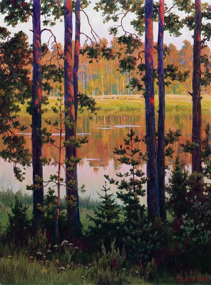 By the evening. Lake Malenets. Mikhailovskoe, 1978
