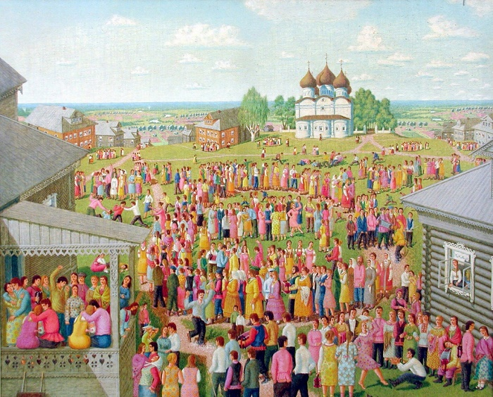 Country holiday 'Ninth'. 1980. Oil on canvas. Vologda art gallery