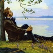 Pushkin over the lake in the evening, 1978