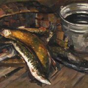 1966 Oil on canvas painting 'Still life with fish'