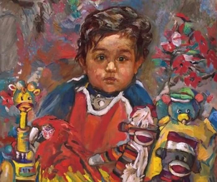 A little boy with toys, portrait