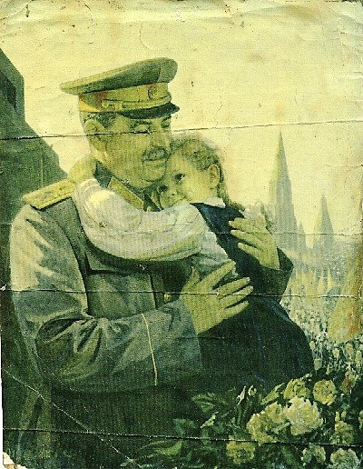 A postcard depicting the image of Stalin and a girl. 1940s