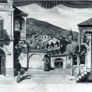 A sketch of the scenery for the play by G.M. Sundukyan 'Khatabala'. Watercolor. The G. Sundukyan Armenian Theater. Yerevan. 1927