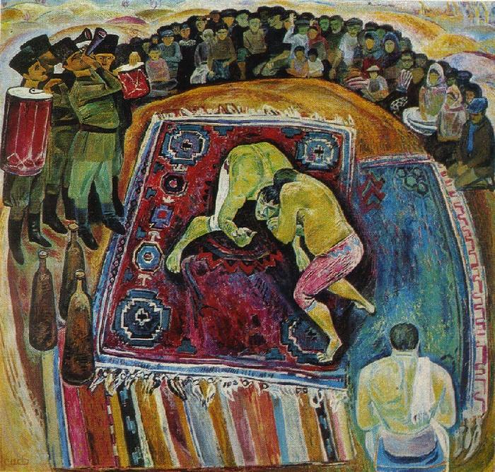 Asaf Ali Iskender oglu Jafarov (1927-2000). Village stronh men. 1971. Oil on canvas. Tretyakov gallery
