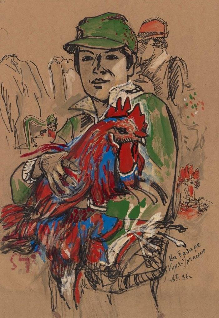 At the market in Kunya-Urgench. 1986. Paper, watercolor, felt-tip pen