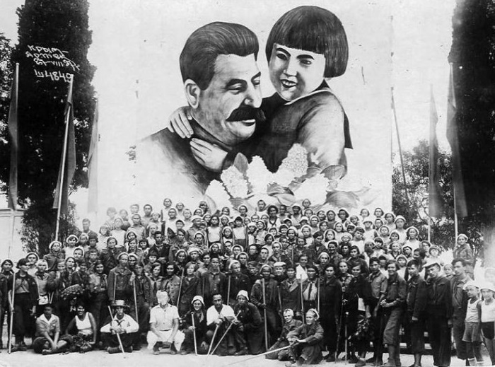 Crimea, the huge banner with an iconic image 'Thank you comrade Stalin for our happy childhood'