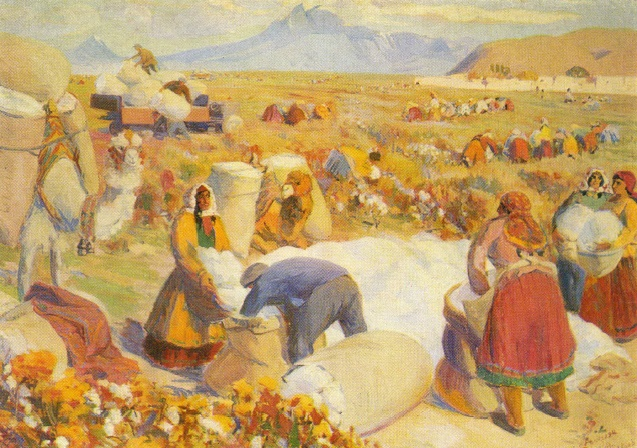 Gathering cotton on collective farm fields. 1930. Arakelyan S.A