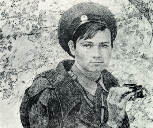 KG Karamyan (Moscow). Ensign Stepanov in patrol. From the 'Border' series. 1981. Pencil on paper