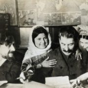 Kalinin and Stalin with a girl and her mum
